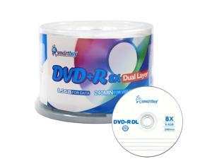 50 Pack Smartbuy 8X DVD+R DL 8.5GB Dual Layer Logo Top Blank Media Recordable Disc