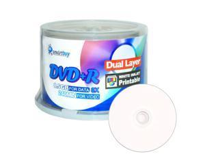 50 Pack Smartbuy 8X DVD+R DL 8.5GB Dual Layer White Inkjet Hub Printable Blank Media Recordable Disc