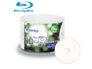 50 Pack Smartbuy 6X BD-R 25GB White Inkjet Hub Printable Blank Media Recordable Disc