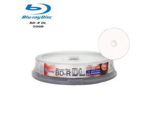 10 Pack Smartbuy 6X BD-R DL 50GB White Inkjet Hub Printable Blank Media Recordable Disc