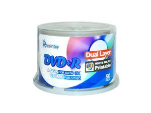 Smartbuy 8X DVD+R DL 8.5GB Dual Layer White Inkjet Hub Printable Music Video Data Recordable Disc