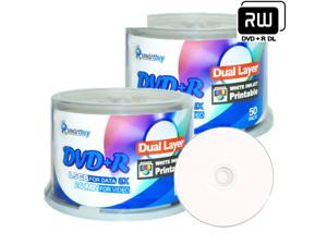Smartbuy 8X DVD+R DL 8.5GB Dual Layer White Inkjet Hub Printable Music Video Data Recordable Disc (100 Packs)