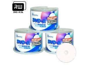 Smartbuy 8X DVD+R DL 8.5GB Dual Layer White Inkjet Hub Printable Music Video Data Recordable Disc (150 Packs)
