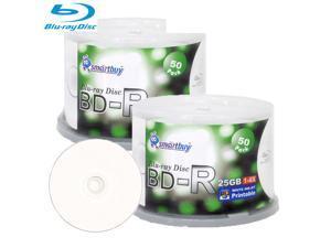 Smartbuy 6X BD-R 25GB White Inkjet Hub Printable Video Audio Photo Data Recordable Disc (100 Packs)