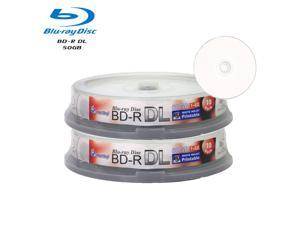 Smartbuy 6X BD-R DL 50GB Dual Layer White Inkjet Hub Printable Video Audio Photo Data Recordable Disc (20 Packs)