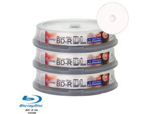 Smartbuy 6X BD-R DL 50GB Dual Layer White Inkjet Hub Printable Video Audio Photo Data Recordable Disc (30 Packs)