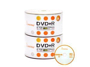 100 Pack Smartbuy 16X DVD+R 4.7GB 120Min Logo Top Blank Media Recordable Disc