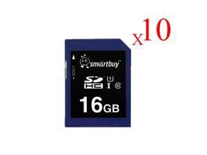 Smartbuy SDHC Class 10 Flash Memory Card SD HC C10 Ultra U1 UHS-I HD Fast Speed for Camera (16GB - 10 Packs)