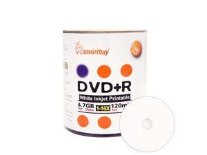 Smartbuy DVD+R 16X 4.7GB 120Min White Inkjet Hub Printable Music Video Data Recordable Disc (100 Packs)