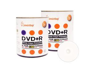 Smartbuy DVD+R 16X 4.7GB 120Min White Inkjet Hub Printable Music Video Data Recordable Disc (200 Packs)