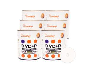 Smartbuy DVD+R 16X 4.7GB 120Min White Inkjet Hub Printable Music Video Data Recordable Disc (600 Packs)