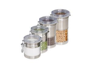 Honey-Can-Do 4-Piece Stainless Steel and Acrylic Canister Set