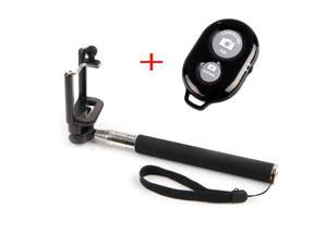 KIKI Electronic Extendable Camera Selfie Shooting Pole Adjustable Handheld Monopod Mount Holder for iPhone 6 Plus 5s Samsung Galaxy S5 S4 C with Bluetooth Remote Camera Wireless Shutter - Black