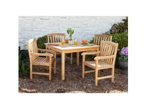 Amagansett Teak Square Dining 5pc Set - Unstained