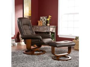 Lazio Bonded Leather Recliner & Ottoman - Coffee Brown