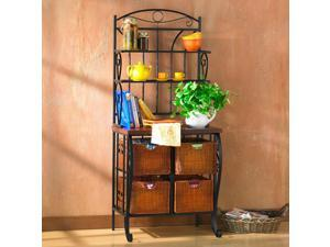 Normandy Iron/Wicker Bakers Rack
