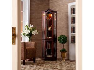 Vaglia Lighted Corner Curio Cabinet - Mahogany