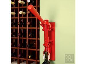 BOJ Wall-mounted Corkscrew Red & Red Wood Backing