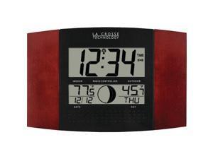 LA CROSSE TECHNOLOGY WS-8117U-IT-C Digital Atomic Wall Clock (Indoor/Outdoor Temperature&#59; Cherry Wood Finish)