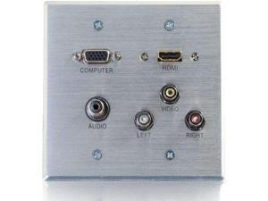 C2G 39704 HDMI, VGA, 3.5mm Audio, Composite Video and RCA Stereo Audio Pass Through Double Gang Wall Plate