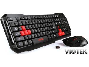 Viotek Hawkpeck Wireless 2.4GHz 7-Button 2000DPI Optical Mouse and Multimedia Keyboard w/ Highlighted WASD Keys