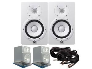 Yamaha HS7 Active Studio Monitors (Pair) with PrimAcoustic Isoplane, Mogami Gold TRS to XLR Male Cables, and Monitor
