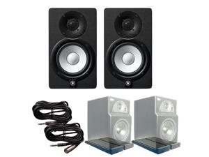 Yamaha HS5 (Pair) Active Monitors with Primacoustic IsoPlane Isolation Pads TRS to XLR-M Cables
