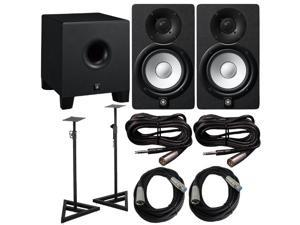Yamaha HS 5 Pair with HS8S 8 in. Powered Subwoofer and Cables Bundle