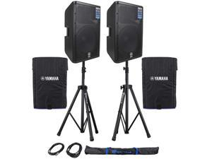 "Package: (2) Yamaha DXR15 15"" 2-Way, Bi-amp Powered Speakers Totaling 2200W Peak/1400W RMS + (2) Yamaha DXR15-COVER Soft Padded Covers + Pair of Rockville RVSS2-XLR Hevy Duty Adjustable Pro PA Speaker"