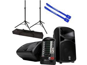Yamaha STAGEPAS 600i 680-Watt Portable PA System Speakers & Mixer w/ Stands, Bag & Cable Ties
