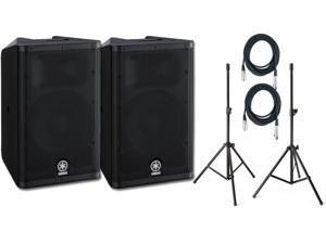 "Pair Yamaha DXR10 10"" Powered Speaker, with Samson LS2 Speaker Poles (2) 20' XLR Cables"