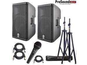 """Yamaha DXR12 Powered Speaker Cabinet 12"""" - Free Accenta Speaker Stands w/ bag and Novik FNK-5"""