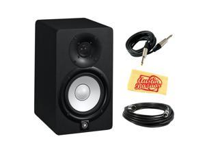Yamaha HS5 2-Way Bass-Reflex Bi-Amplified Nearfield Studio Monitor Bundle with XLR Cable, Instrument Cable, and Polishing Cloth