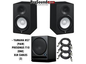 Yamaha HS7 Active Studio Monitors w PreSonus Temblor T10 Powered Studio Subwooferand and XLR to XLR Male Cables
