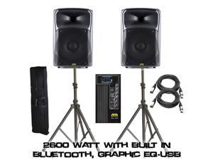 "KALO 215ABT 15"" Active/Powered DJ/PA Wireless Speakers Totaling 2600 Watt (Both) With Built In Bluetooth, Graphic EQ - (2) XLR CABLE 15FT - (2) Heavy Speaker Stand W/ Bag"