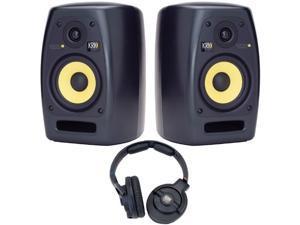KRK VXT6 Pair of Two-Way Active Studio Monitors and KNS 6400 Headphones