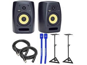 KRK VXT6 VXT 6 Bi-Amp Active Studio Monitor Pair w/ Stands, XLR Cables & Cable Ties