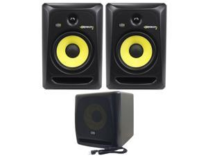 "KRK RP8-G3 Rokit Active 8"" Inch Studio Reference Monitors - Latest Gen With Updated Bi-Amped Class A/B Amplifier For Higher Performance at Lower Distortion + KRK KRK10S 10"" 225 Watt Powered Active"