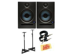 PreSonus Eris E5 70-Watt Nearfield Studio Monitor Bundle with Stands, Two Instrument Cables, and Polishing Cloth - Pair