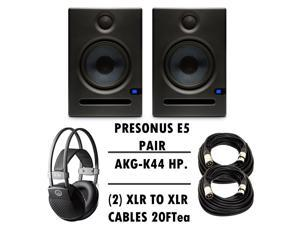Presonus Eris E5 Pair - Pair of High-Definition 2-way 5.25 inch Near Field Studio Monitors + FREE AKG K44 HP + (2) XLR TO XLR CABLES 20FT ea