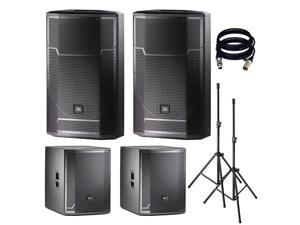 JBL PRX715 15-Inch Two-Way Full Range Main System/Floor Monitor. With 2 PRX718XLF, Stands and XLR Cables.