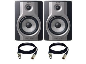 (2) M-Audio BX5 Carbon  Speaker Compact Studio Monitor for Music Production and Mixing. W/ Free XLR Cables.