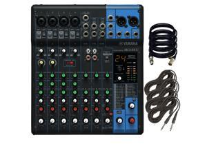 Yamaha MG10XU 10-Input Stereo Mixer. W/ 4 XLR Cables and 4 TRS Cable.
