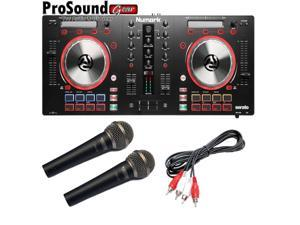 Numark Mixtrack Pro 3 DJ Controller for Serato with Intelligent Dual-Display and Touch-Capacitive Knobs + Free Pair Novik fnk5 Mic and Cable (ProSoundGear)