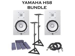 Yamaha HS8 White (Pair). W/ Monitors Stand (pair) + 2 XLR Cables + Monitor Pad