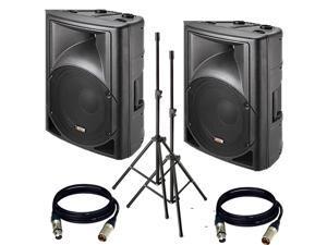 "Novik evo100A - 8"" (PAIR) Portable PA System 400-Watt MP3/MIC/Line/BT/USB W/ 2 XLR Cables + 2 Stand"