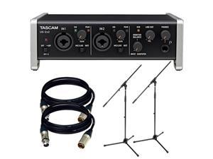 TASCAM US-2x2 USB 2.0 Audio MIDI Interface. W/  XLR Cable and 2 Mic Stand.