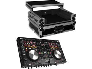 Denon DNMC6000MK2 Professional Digital Mixer and Controller. With ProX Flight Case For MC6000MK2 Controllers with Laptop Shelf