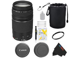 Canon EF 75-300mm f/4-5.6 III Telephoto Zoom Lens for Canon SLR Cameras T3, T3i, T4i, T5, T5i, 5D, 6D, 60D, 7D, 70D, SL1, 600D, 650D, 700D, 100D, 1100D + Pixi-Basic Accessory Bundle
