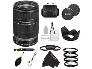 Canon EF-S 55-250mm f/4-5.6 IS Lens for 20D, 30D, 40D, 50D, 60D, 70D, 7D, 7D Mark II, XT, XTi, XSi, XS, T1i, T2i, T3i, T4i, SL1, T5i + Pixi-Advanced Accessory Bundle
